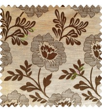 Dark coffee brown yellow color beautiful big flower patterns texture finished designs leaf long hanging flowers horizontal lines petals polyester main curtain