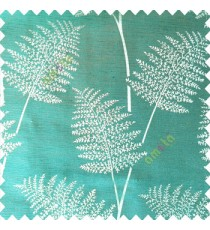 Aqua blue color natural big twig horizontal thin lines very fine designs small leaf patterns polyester main curtain