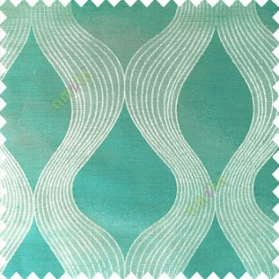 Aqua blue color traditional ogee pattern vertical bold stripes horizontal texture lines flowing designs polyester main curtain