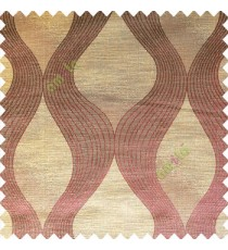 Brownish purple color traditional ogee pattern vertical bold stripes horizontal texture lines flowing designs polyester main curtain
