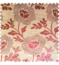Brownish purple color beautiful big flower patterns texture finished designs leaf long hanging flowers horizontal lines petals polyester main curtain
