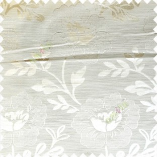 Cream color beautiful big flower patterns texture finished designs leaf long hanging flowers horizontal lines petals polyester main curtain