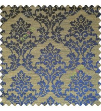 Blue brown color traditional designs complete damask pattern texture based fabric polyester main curtain