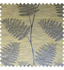 Blue brown color natural big twig horizontal thin lines very fine designs small leaf patterns polyester main curtain