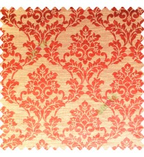 Orange color traditional designs complete damask pattern texture based fabric polyester main curtain