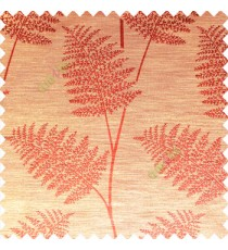 Orange color natural big twig horizontal thin lines very fine designs small leaf patterns polyester main curtain