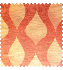 Orange color traditional ogee pattern vertical bold stripes horizontal texture lines flowing designs polyester main curtain