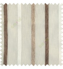 Cream brown color vertical thick texture stripes horizontal lines with polyester transparent fabric sheer curtain