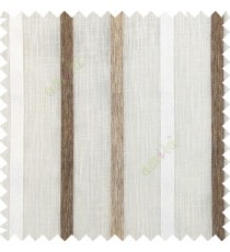 Off white brown beige color vertical thick texture stripes horizontal lines with polyester transparent fabric sheer curtain