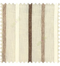 Beige cream brown color vertical thick texture stripes horizontal lines with polyester transparent fabric sheer curtain