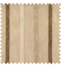 Brown gold color vertical thick texture stripes horizontal lines with polyester transparent fabric sheer curtain