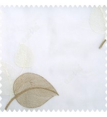 Brown cream white color beautiful floral leaves embroidery designs with transparent net finished base fabric polyester sheer curtain