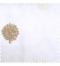 Brown cream white color small bushes embroidery small designs with transparent polyester base fabric sheer curtain