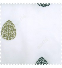Blue green white color traditional designs embroidery patterns with transparent polyester base fabric sheer curtain