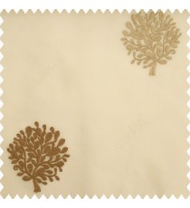 Brown gold color small bushes embroidery small designs with transparent polyester base fabric sheer curtain