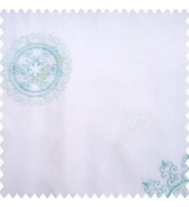 Blue white color traditional designs decorative circle swirls with transparent base polyester fabric embroidery pattern sheer curtain