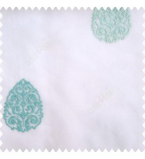 Blue white color traditional designs embroidery patterns with transparent polyester base fabric sheer curtain