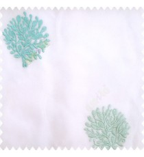 Blue white color small bushes embroidery small designs with transparent polyester base fabric sheer curtain