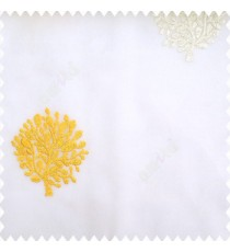 Yellow white cream color small bushes embroidery small designs with transparent polyester base fabric sheer curtain