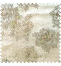 Beige green grey color big flower designs texture patterns with thick polyester base fabric main curtain