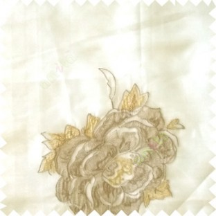 Beige yellow grey color big flower designs texture patterns with thick polyester base fabric sheer curtain