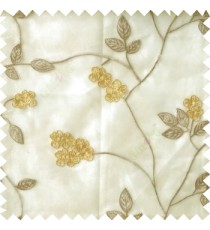 Beige yellow white color beautiful natural floral leaf design embroidery patterns with transparent base fabric flowers blossom sheer curtain