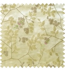 Beige yellow white color beautiful natural floral leaf design embroidery patterns with transparent base fabric flowers blossom main curtain