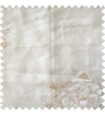 White cream color big flower designs texture patterns with thick polyester base fabric sheer curtain
