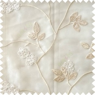 White cream color beautiful natural floral leaf design embroidery patterns with transparent base fabric flowers blossom sheer curtain