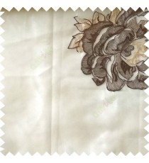 Dark brown beige white color big flower designs texture patterns with thick polyester base fabric sheer curtain