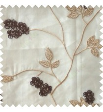 Dark brown beige color beautiful natural floral leaf design embroidery patterns with transparent base fabric flowers blossom sheer curtain