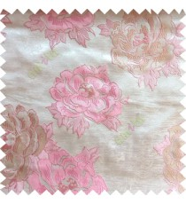 Pink beige brown color big flower designs texture patterns with thick polyester base fabric main curtain
