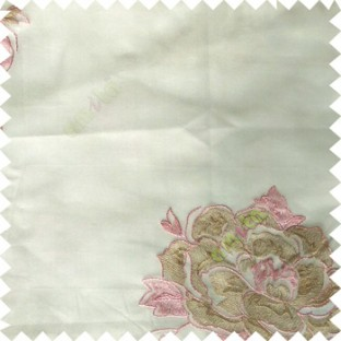 Pink white brown color big flower designs texture patterns with thick polyester base fabric sheer curtain