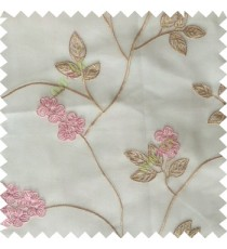 Pink beige white color beautiful natural floral leaf design embroidery patterns with transparent base fabric flowers blossom sheer curtain