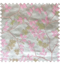 Pink beige white color beautiful natural floral leaf design embroidery patterns with transparent base fabric flowers blossom main curtain