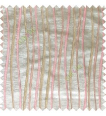 Pink beige white color vertical flowing lines texture with thick polyester background main curtain