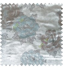 Blue grey color big flower designs texture patterns with thick polyester base fabric main curtain