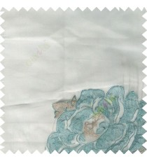 Blue grey color big flower designs texture patterns with thick polyester base fabric sheer curtain