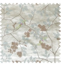 Blue grey white color beautiful natural floral leaf design embroidery patterns with transparent base fabric flowers blossom main curtain