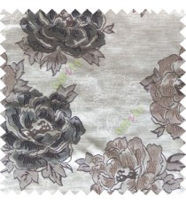 Black grey color big flower designs texture patterns with thick polyester base fabric main curtain