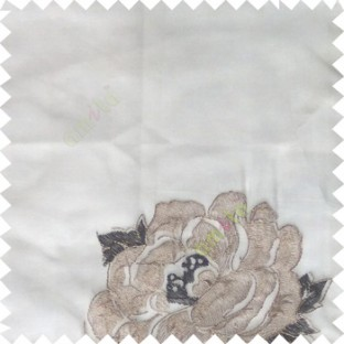 Black grey white color big flower designs texture patterns with thick polyester base fabric sheer curtain
