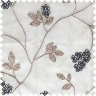 Black grey white color beautiful natural floral leaf design embroidery patterns with transparent base fabric flowers blossom sheer curtain