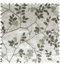 Black grey white color beautiful natural floral leaf design embroidery patterns with transparent base fabric flowers blossom main curtain