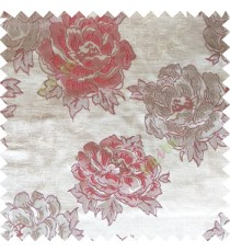 Maroon grey color big flower designs texture patterns with thick polyester base fabric main curtain