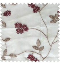 Maroon white beige color beautiful natural floral leaf design embroidery patterns with transparent base fabric flowers blossom sheer curtain