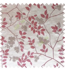 Maroon white beige color beautiful natural floral leaf design embroidery patterns with transparent base fabric flowers blossom main curtain