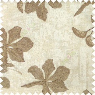 Brown cream beige color embroidery flower beautiful designs leaf branch texture background main curtain