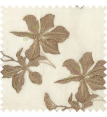 Brown cream beige color embroidery flower beautiful designs leaf branch texture background sheer curtain