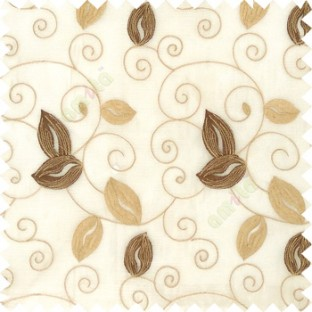 Brown cream white color embroidery traditional designs floral leaf pattern horizontal lines with transparent base fabric sheer curtain