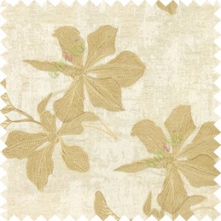 Cream gold brown color embroidery flower beautiful designs leaf branch texture background main curtain